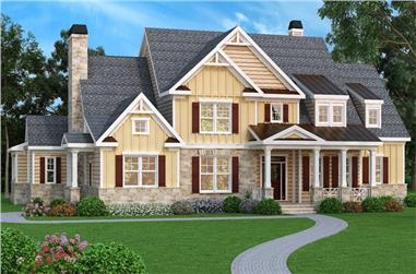 5-Bedroom, 4405 Sq Ft Craftsman House Plan - 104-1082 - Front Exterior