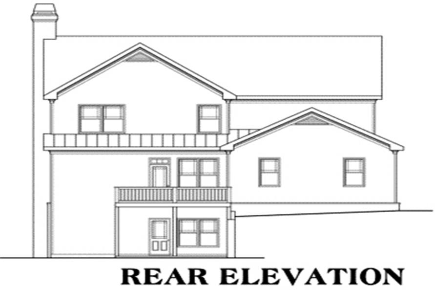 Home Plan Rear Elevation of this 5-Bedroom,3525 Sq Ft Plan -104-1084