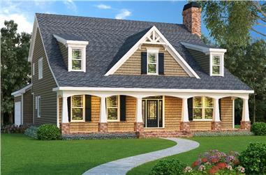 Color rendering of Cape Cod home plan (ThePlanCollection: House Plan #104-1084)