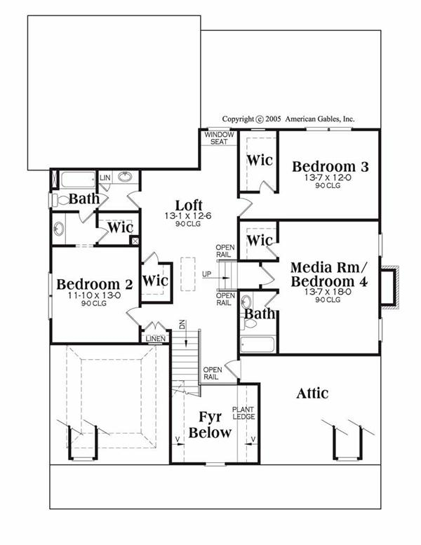 House Plan Peachtree Second Floor Plan