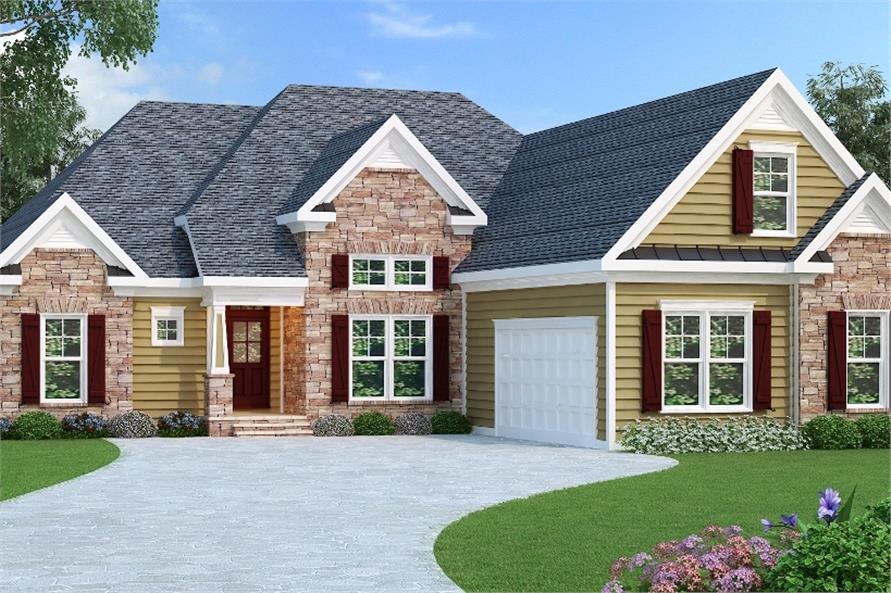 4-Bedroom, 2068 Sq Ft Country Home Plan - 104-1086 - Main Exterior