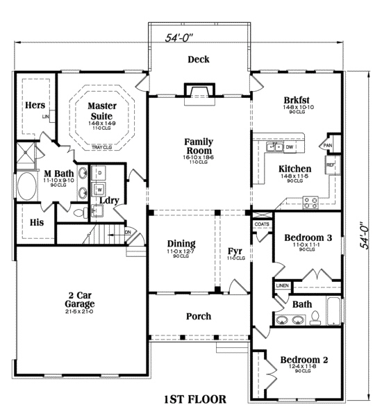 Ranch southern home with 3 bdrms 1960 sq ft floor for 1960 ranch house floor plans