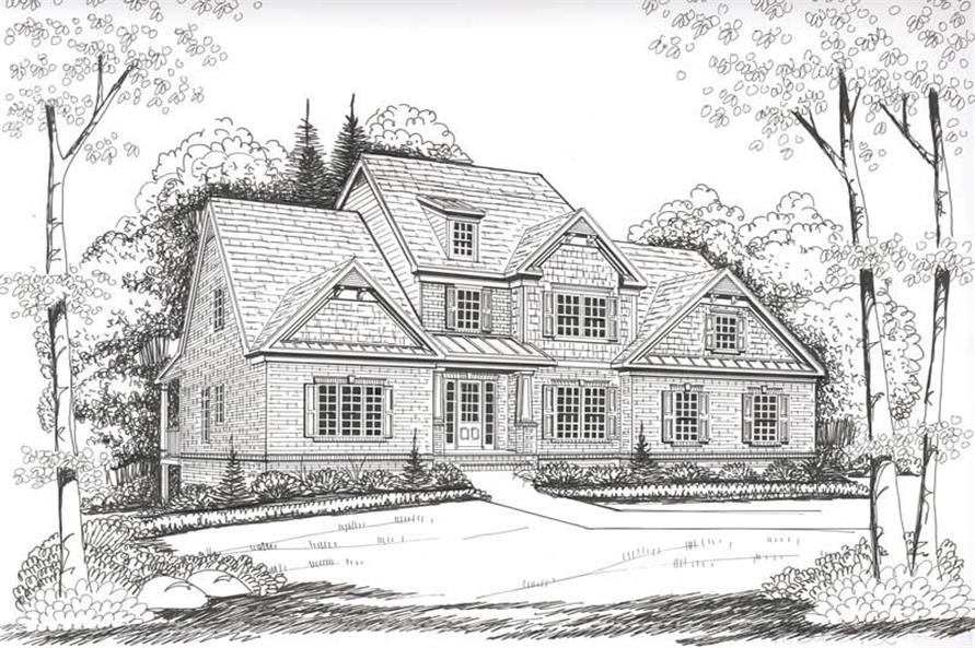 Home Plan Front Elevation of this 4-Bedroom,2954 Sq Ft Plan -104-1090