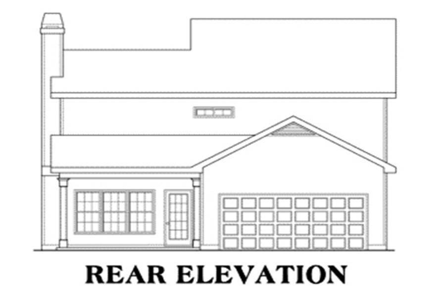 Home Plan Rear Elevation of this 3-Bedroom,1708 Sq Ft Plan -104-1091