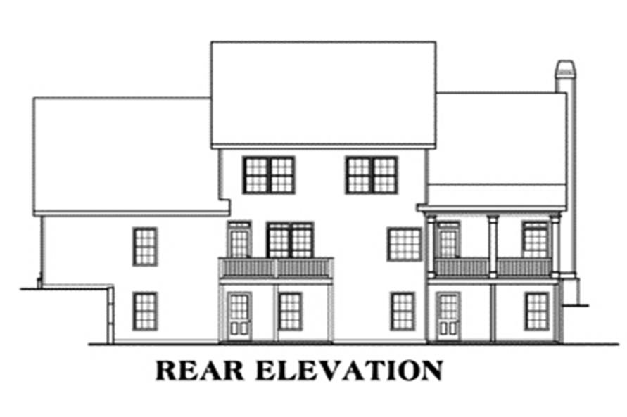 Home Plan Rear Elevation of this 4-Bedroom,2798 Sq Ft Plan -104-1092