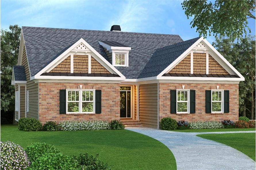 3-Bedroom, 1861 Sq Ft Country House Plan - 104-1093 - Front Exterior