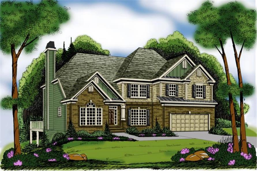 4-Bedroom, 2763 Sq Ft Traditional Home Plan - 104-1094 - Main Exterior
