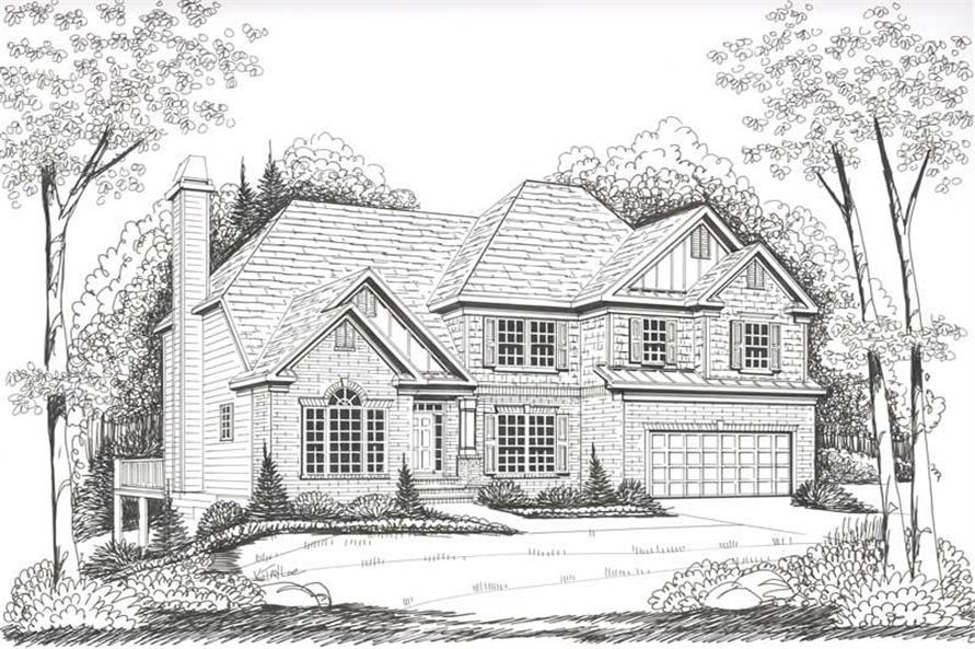 Front Elevation of this 4-Bedroom,2763 Sq Ft Plan -2763