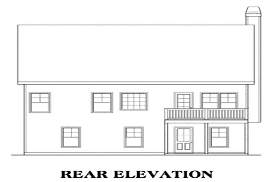 Home Plan Rear Elevation of this 3-Bedroom,1592 Sq Ft Plan -104-1098
