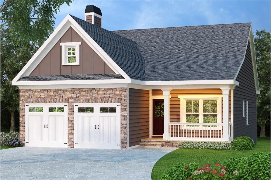 3-Bedroom, 1592 Sq Ft Craftsman House Plan - 104-1098 - Front Exterior