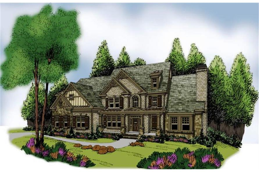 Home Plan Rendering of this 5-Bedroom,4139 Sq Ft Plan -4139
