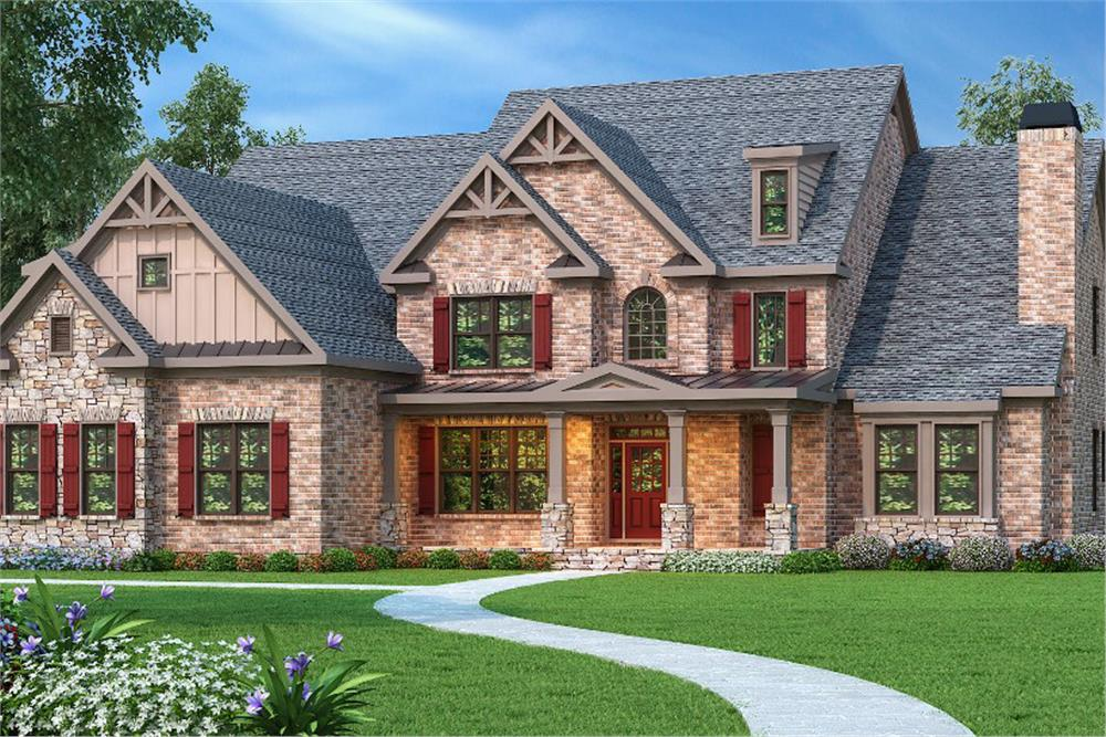 Color rendering of Luxury home plan (ThePlanCollection: House Plan #104-1101)