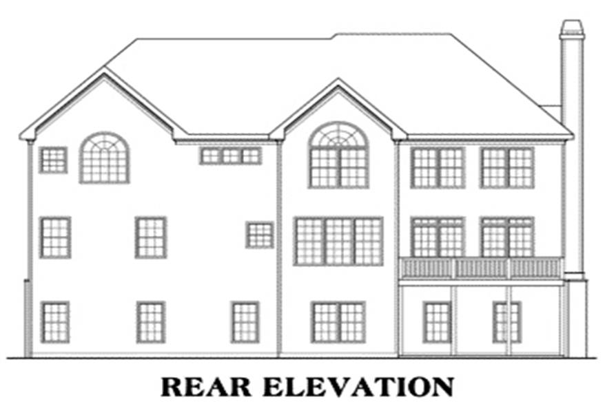 Home Plan Rear Elevation of this 5-Bedroom,3919 Sq Ft Plan -104-1105