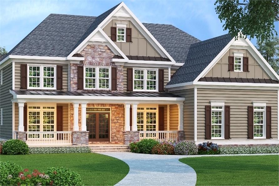 5-Bedroom, 3919 Sq Ft Country House Plan - 104-1105 - Front Exterior