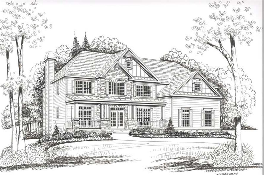 Home Plan Front Elevation of this 5-Bedroom,3919 Sq Ft Plan -104-1105