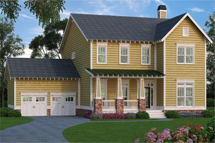 Front elevation of Country home (ThePlanCollection: House Plan #104-1111)
