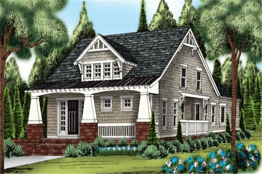 Front elevation of Bungalow home (ThePlanCollection: House Plan #104-1115)