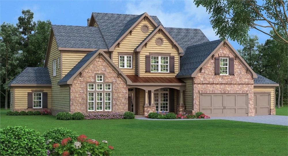 Front elevation of Craftsman home (ThePlanCollection: House Plan #104-1119)