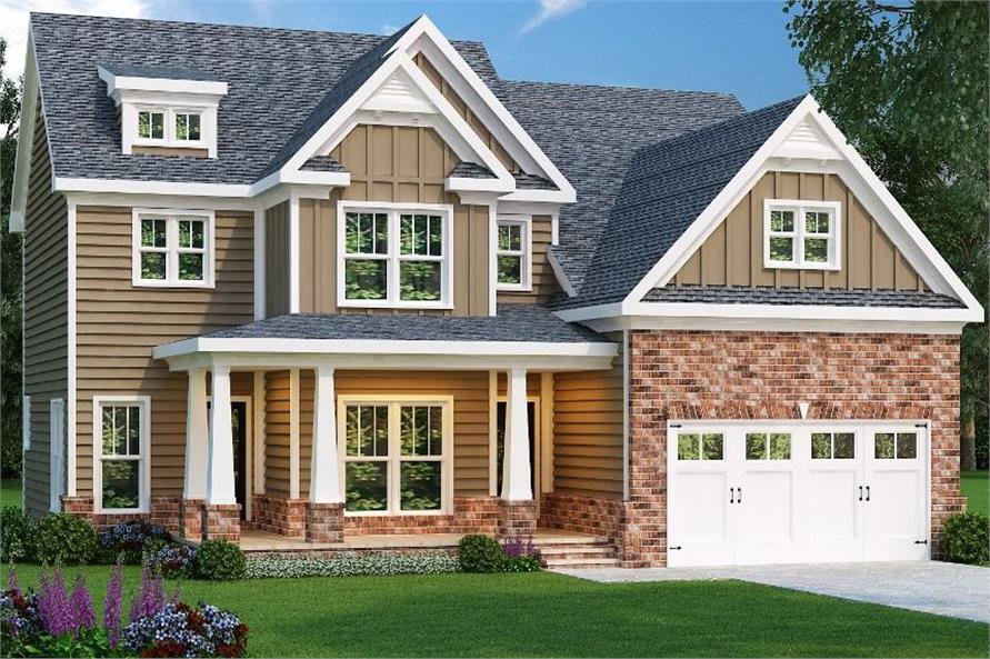 Front elevation of Craftsman home (ThePlanCollection: House Plan #104-1121)