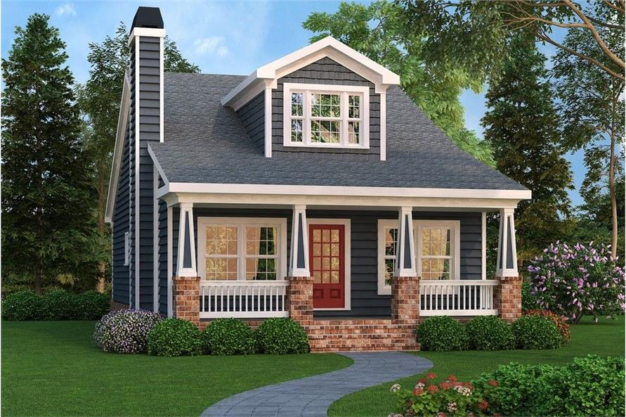 Front elevation of Bungalow home (ThePlanCollection: House Plan #104-1122)