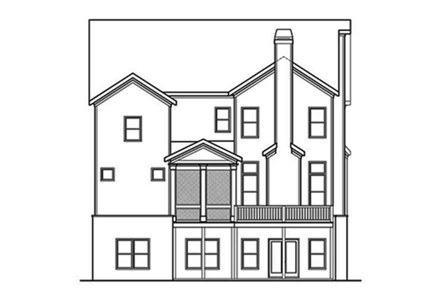 Home Plan Rear Elevation of this 5-Bedroom,3922 Sq Ft Plan -104-1123