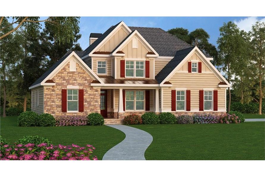Front elevation of Southern home (ThePlanCollection: House Plan #104-1124)
