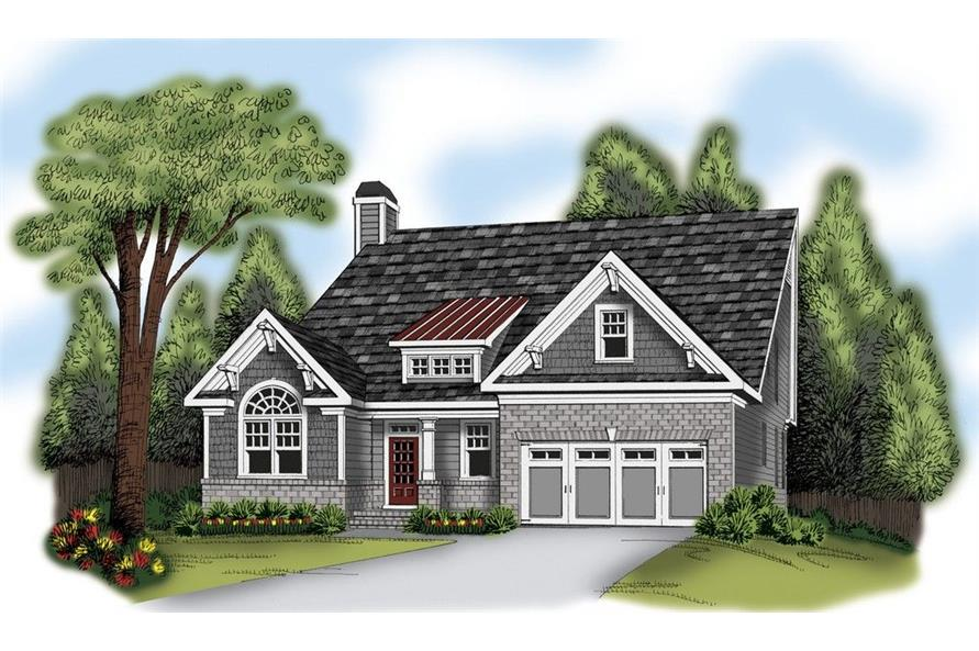 Front elevation of Ranch home (ThePlanCollection: House Plan #104-1126)