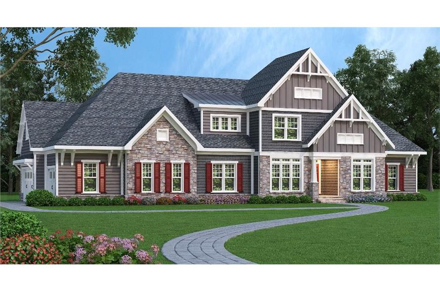 Front elevation of Craftsman home (ThePlanCollection: House Plan #104-1128)