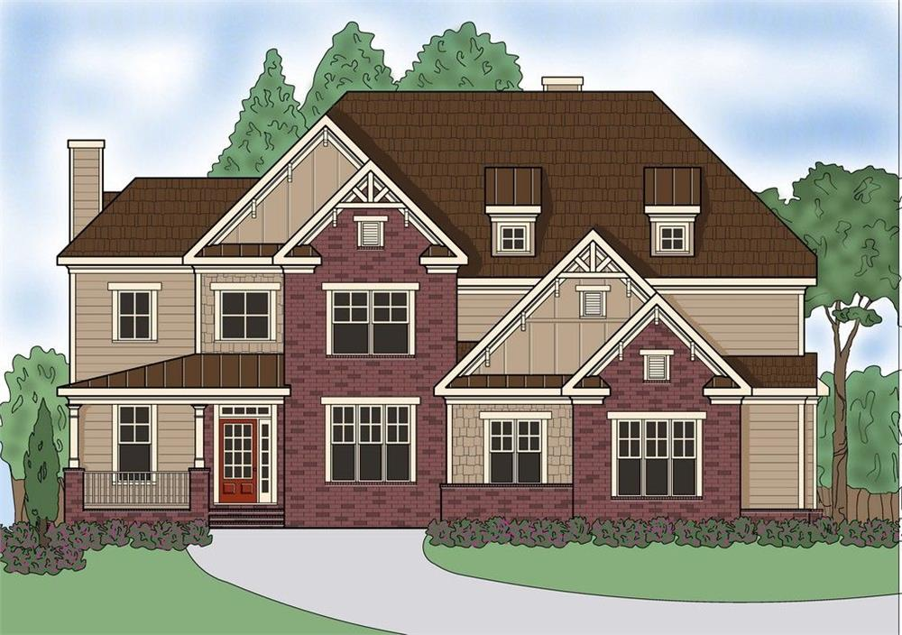 Front elevation of Southern home (ThePlanCollection: House Plan #104-1133)