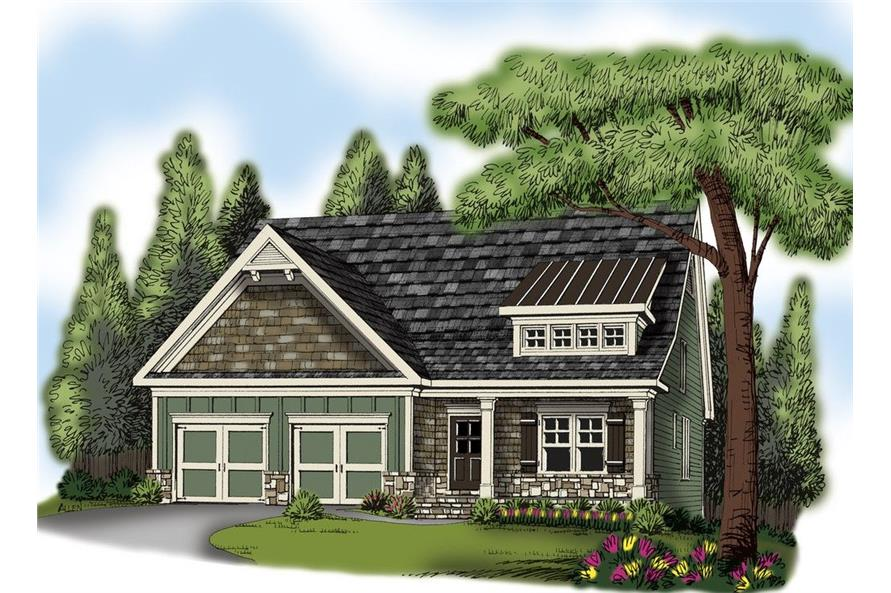 Front elevation of Craftsman home (ThePlanCollection: House Plan #104-1137)