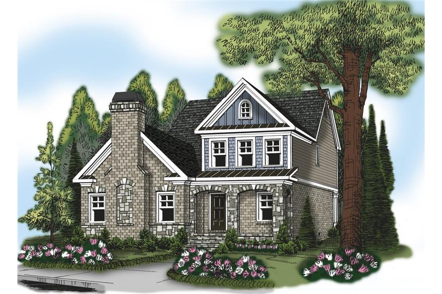 Front elevation of Traditional home (ThePlanCollection: House Plan #104-1142)