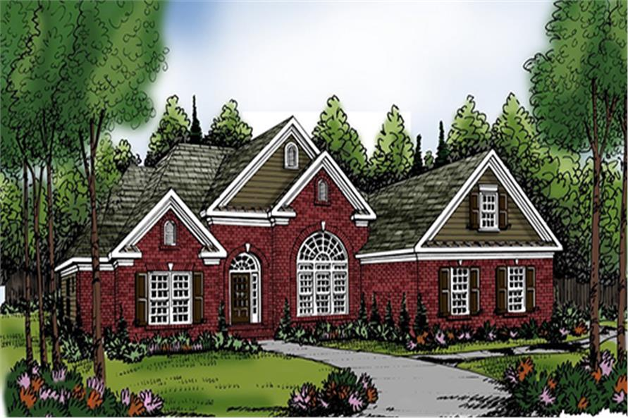 Front elevation of Ranch home (ThePlanCollection: House Plan #104-1144)