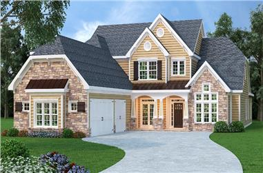Front elevation of Luxury home (ThePlanCollection: House Plan #104-1145)