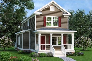 Front elevation of Craftsman home (ThePlanCollection: House Plan #104-1148)