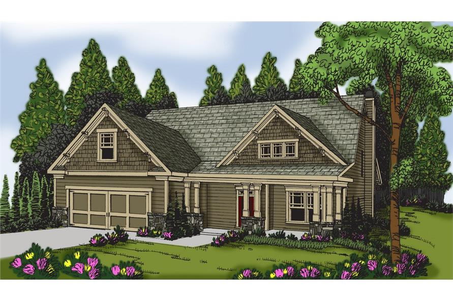 Front elevation of Craftsman home (ThePlanCollection: House Plan #104-1150)