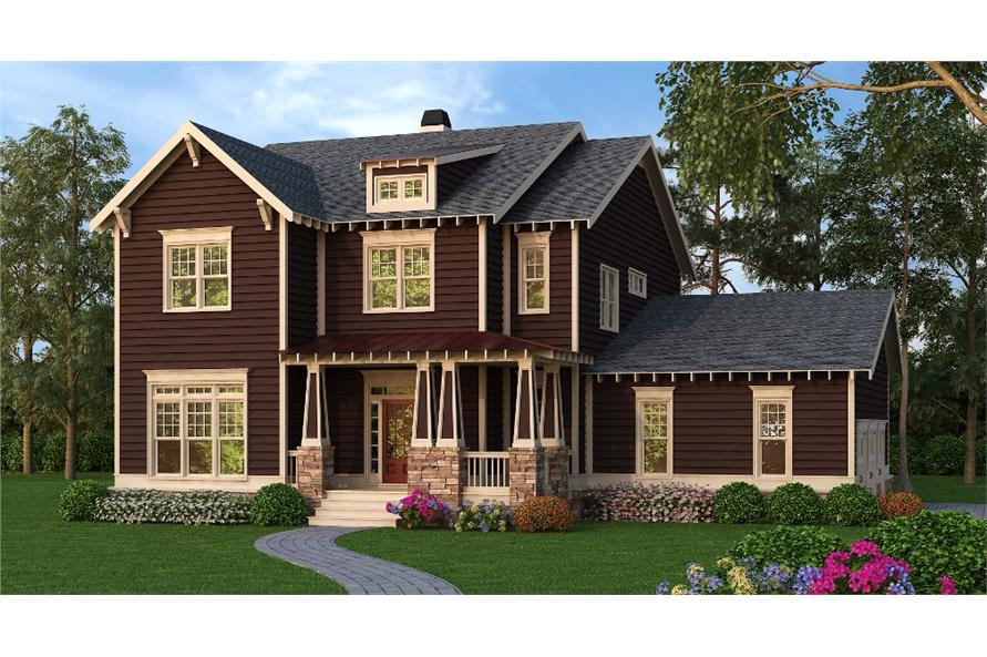 Front elevation of Craftsman home (ThePlanCollection: House Plan #104-1151)