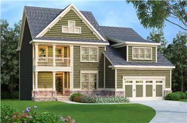 4-Bedroom, 2372 Sq Ft Craftsman Home Plan - 104-1156 - Main Exterior