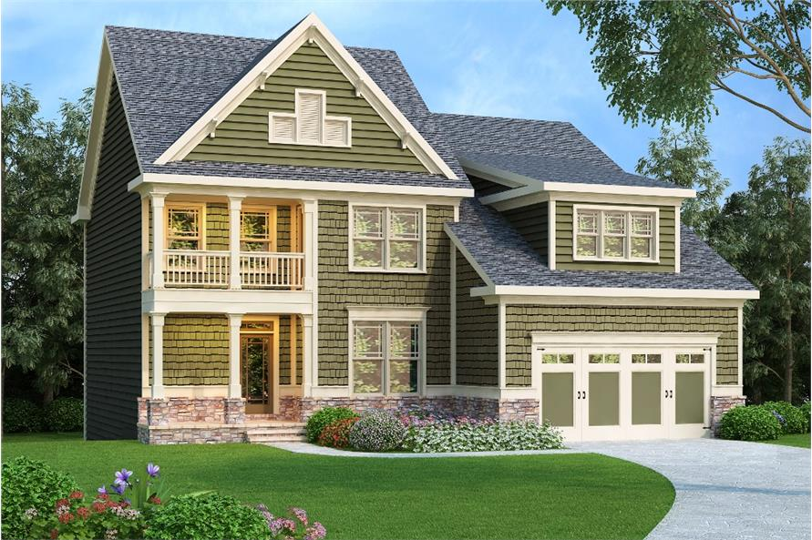Front elevation of Craftsman home (ThePlanCollection: House Plan #104-1156)