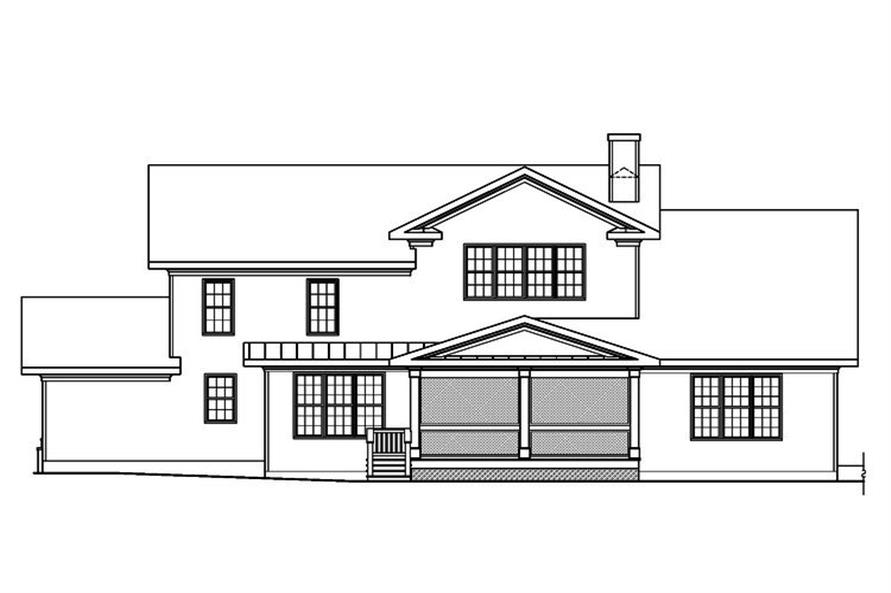 Home Plan Rear Elevation of this 3-Bedroom,3307 Sq Ft Plan -104-1159
