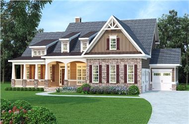 Front elevation of Cape Cod home (ThePlanCollection: House Plan #104-1159)