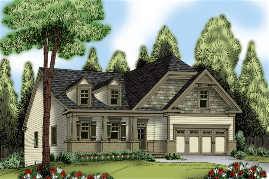 Front elevation of Ranch home (ThePlanCollection: House Plan #104-1160)