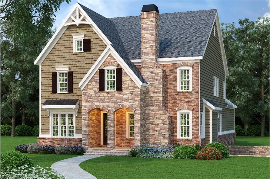 Front elevation of Luxury home (ThePlanCollection: House Plan #104-1161)