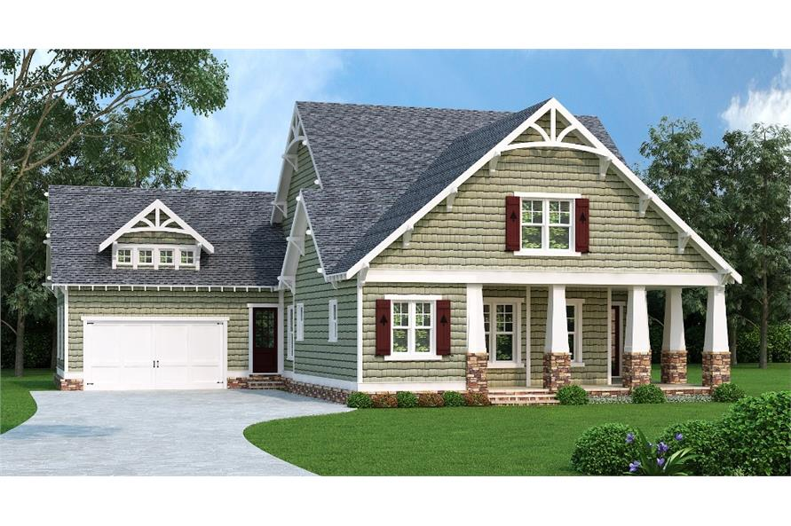Front elevation of Craftsman home (ThePlanCollection: House Plan #104-1162)