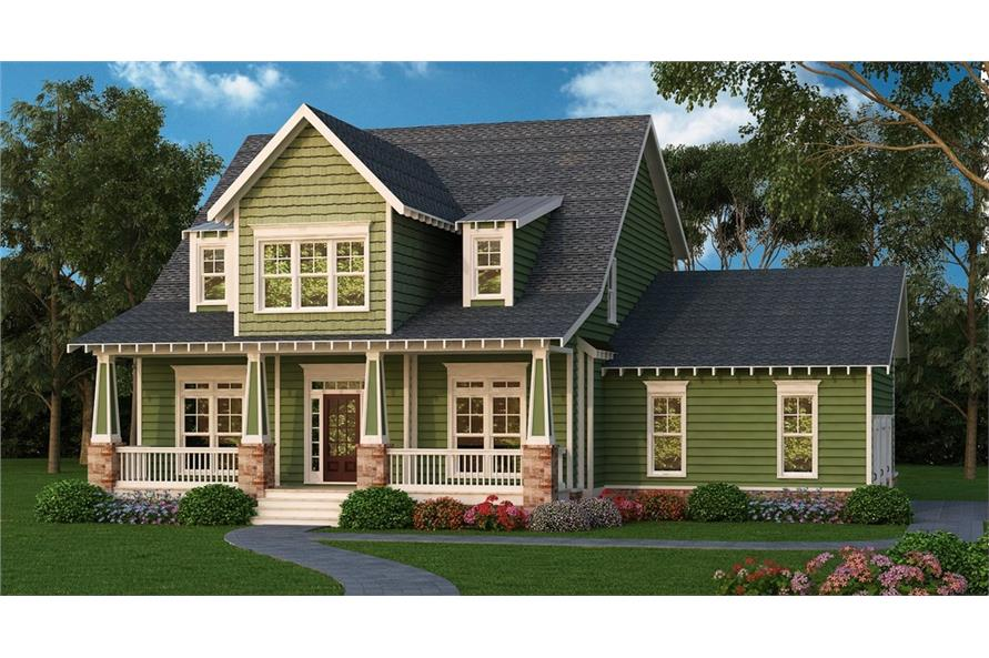 Front elevation of Country home (ThePlanCollection: House Plan #104-1164)