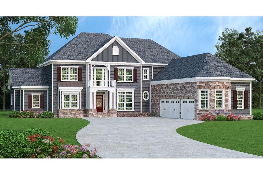 Front elevation of Luxury home (ThePlanCollection: House Plan #104-1166)