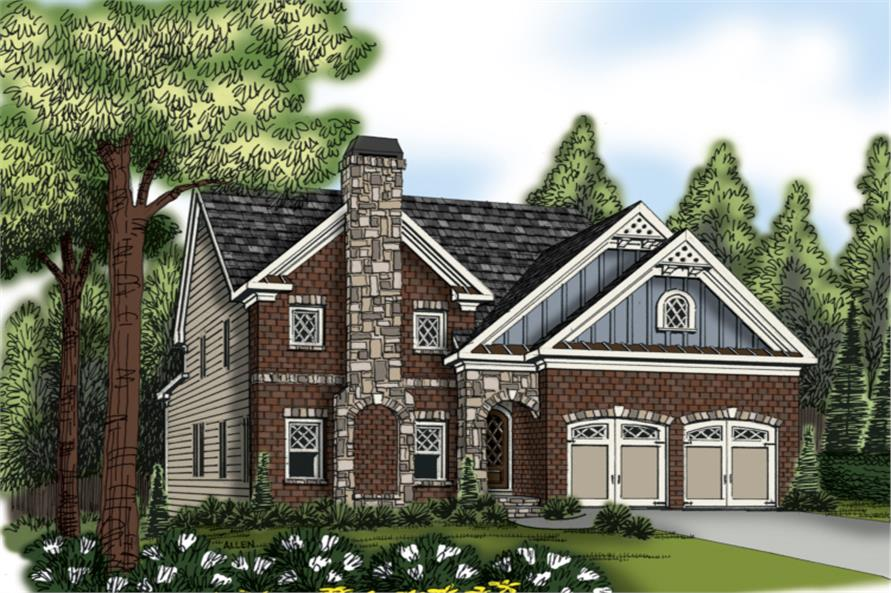Front elevation of Traditional home (ThePlanCollection: House Plan #104-1171)