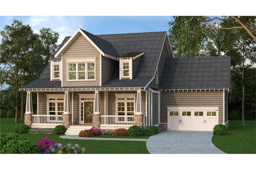 Front elevation of Craftsman home (ThePlanCollection: House Plan #104-1176)