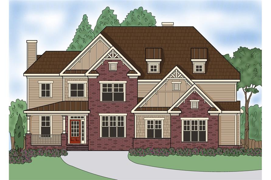 Front elevation of Southern home (ThePlanCollection: House Plan #104-1180)
