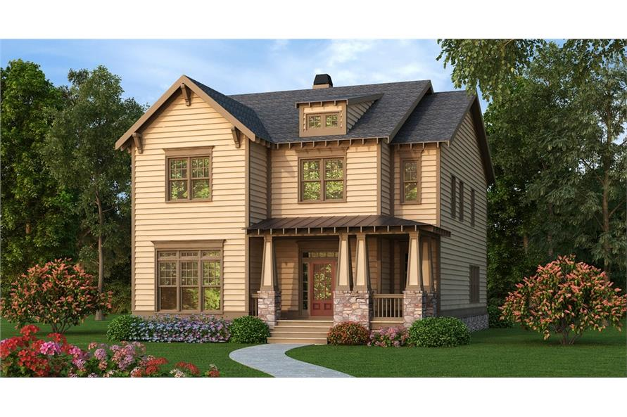 Front elevation of Craftsman home (ThePlanCollection: House Plan #104-1182)