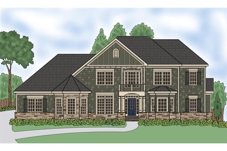 Front elevation of Luxury home (ThePlanCollection: House Plan #104-1183)